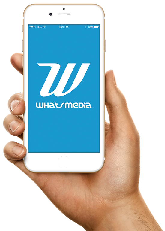 Hand holding smartphone with the Whats Media app on the screen